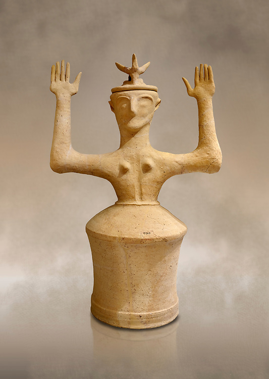 Minoan Postpalatial terracotta  goddess statue with raised arms and horn crown,  Karphi Sanctuary 1200-1100 BC, Heraklion Archaeological Museum. <br /> <br /> The Goddesses are crowned with symbols of earth and sky in the shapes of snakes and birds, describing attributes of the goddess as protector of nature. .<br /> <br /> If you prefer to buy from our ALAMY PHOTO LIBRARY  Collection visit : https://www.alamy.com/portfolio/paul-williams-funkystock/minoan-art-artefacts.html . Type -   Heraklion   - into the LOWER SEARCH WITHIN GALLERY box. Refine search by adding background colour, place, museum etc<br /> <br /> Visit our MINOAN ART PHOTO COLLECTIONS for more photos to download  as wall art prints https://funkystock.photoshelter.com/gallery-collection/Ancient-Minoans-Art-Artefacts-Antiquities-Historic-Places-Pictures-Images-of/C0000ricT2SU_M9w