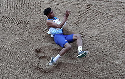 Wesley Matsuka-Williams in the triple jump during the Loughborough International Athletics Meeting at the Paula Radcliffe Stadium, Loughborough.