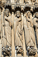 Medieval Gothic Sculptures of the South portal  of the Cathedral of Chartres, France. A UNESCO World Heritage Site. .
