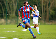 Rochelle Shakes in action during the Pre-Season Friendly match between Crystal Palace LFC and Queens Park Rangers Ladies at the The Stadium, Bromley, United Kingdom on 19 July 2015. Photo by Michael Hulf.