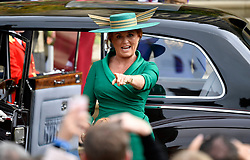 Sarah, Duchess of York, arrives for the wedding of Princess Eugenie and Jack Brooksbank at St George's Chapel in Windsor Castle, Windsor.