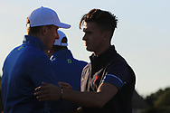 Conor Gough (GB&I) wins on the 18th during Day 1 Singles of the Walker Cup at Royal Liverpool Golf CLub, Hoylake, Cheshire, England. 07/09/2019.<br /> Picture: Thos Caffrey / Golffile.ie<br /> <br /> All photo usage must carry mandatory copyright credit (© Golffile | Thos Caffrey)