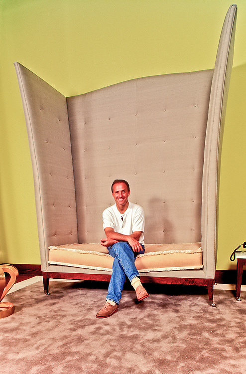 Hotel owner and Studio 54 founder Ian Schrager sits in a winged, throne-like chair in the Philippe Starck-decorated lobby of Scharger's Delano Hotel on June 28, 1995, the day before the newly renovated hotel opened to the public.<br /> <br /> The chair's wings resemble the fins or wings that also decorate the Delano's famous tower.