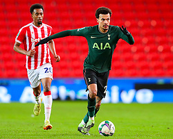 Dele Alli of Tottenham Hotspur races away from Tashan Oakley-Boothe of Stoke City - Mandatory by-line: Nick Browning/JMP - 23/12/2020 - FOOTBALL - Bet365 Stadium - Stoke-on-Trent, England - Stoke City v Tottenham Hotspur - Carabao Cup
