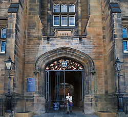 Exterior of New College, Faculty of Divinity at Edinburgh University on the Mound in Edinburgh, Scotland, United Kingdom.