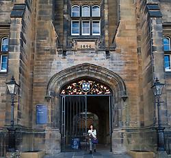 Exterior of New College, Faculty of Divinity at Edinburgh University on the Mound in Edinburgh, Scotland, United Kingdom.