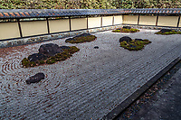 Dry Garden at Shunpu Banriso - . Outside the tea ceremony room at Shunpu Banriso there is a stone garden imitating Ryoanji. The garden was created when thie building was relocated from Kamakura, so it was not originally in the house – the well-maintained dry mountain garden.  Although it is often said that the garden imitates Ryoanji, but it has also been compared to Myorenji Garden as well.  Shunpu Banriso is a branch of the Kasama Nichido Museum.