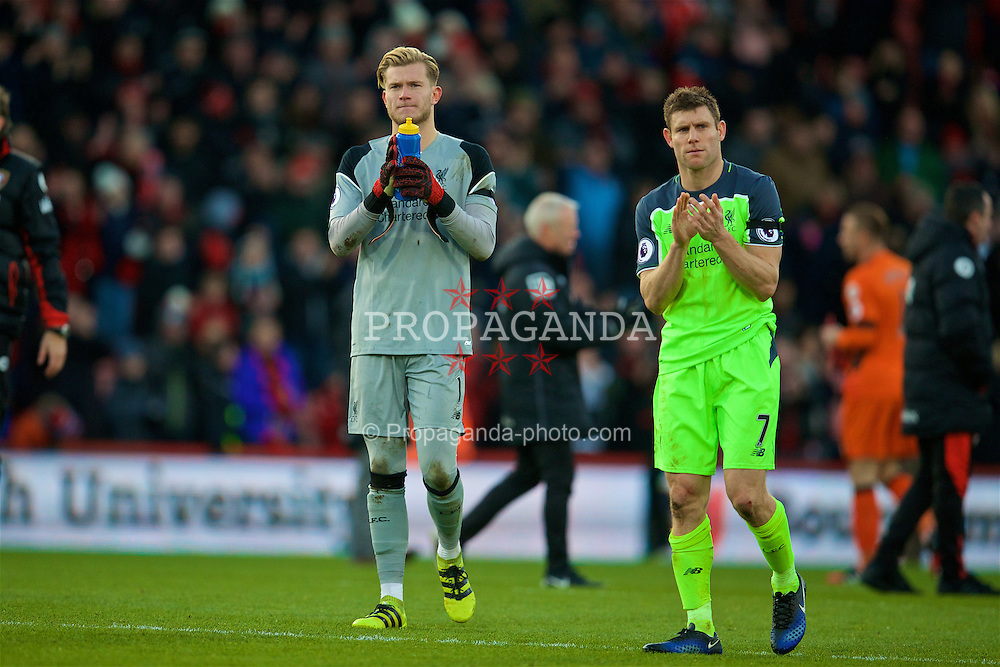BOURNEMOUTH, ENGLAND - Sunday, December 4, 2016: Liverpool's goalkeeper Loris Karius and James Milner look dejected after throwing away a two goal lead to lose 4-3 to AFC Bournemouth during the FA Premier League match at Dean Court. (Pic by David Rawcliffe/Propaganda)