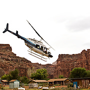 Arizona Outback Adventures, based in Scottsdale, AZ, leads a 4-day hiking trip of Havasupai Falls within the Grand Canyon in Arizona. A helicopter transports visitors to the bottom of the canyon onto the Havasupai Indian Reservation.