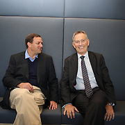 Mark Lazarus, (left), NBC Sports Group Chairman with Richard Scudamore, Chief Executive of the Premier League, at the NBC Sports Network studios in Stamford, Connecticut, USA. 25th September 2013. Photo Tim Clayton