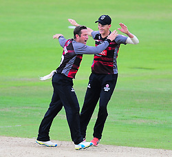 Roelof Van Der Merwe of Somerset celebrates the wicket of Jimmy Adams with Max Waller.   - Mandatory by-line: Alex Davidson/JMP - 02/08/2016 - CRICKET - The Ageas Bowl - Southampton, United Kingdom - Hampshire v Somerset - Royal London One Day