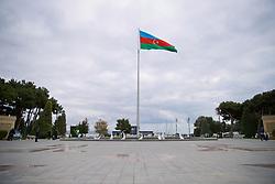 BAKU, AZERBAIJAN - Saturday, November 16, 2019: A large flag at Azneft Square in Baku pictured before the UEFA Euro 2020 Qualifying Group E match between Azerbaijan and Wales at the Bakcell Arena. (Pic by David Rawcliffe/Propaganda)