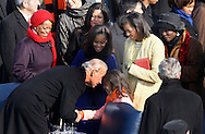 Vice President Biden and Sasha Obama at the swearing in ceremony during the Inauguration on January 20, 2009.  Photograph:  Dennis Brack