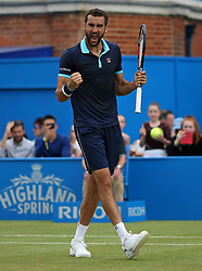 Croatia's Marin Cilic celebrates beating Luxembourg's Gilles Muller during day six of the 2017 AEGON Championships at The Queen's Club, London.