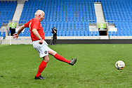 Tommy Charlton of England over 60's during the world's first Walking Football International match between England and Italy at the American Express Community Stadium, Brighton and Hove, England on 13 May 2018. Picture by Graham Hunt.