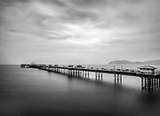 Llandudno Pier in Black and White rendering in Wales.  Licensing and Open Edition Prints.
