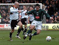 Picture: Raymond Field<br />Luton Town v Plymouth Argle<br />Nationwide League Division Two<br /><br />Tony Capaldi get in front of the ball before Paul Hughes