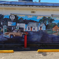 Troy, PA - July 26, 2016: A mural 0utside B&S convenience store, a modernized gas station on Route 6 west of Troy.