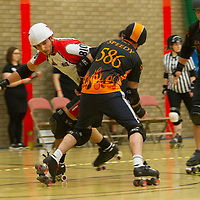 Licolnshire Rolling Thunder take on Barrow Infernos in the opening game of the 2018 MRDA European Qualifiers at North Bridge Leisure Centre, Halifax, United Kingdom, 2018-08-18