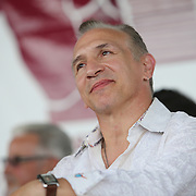 """CANASTOTA, NY - JUNE 14: Ray """"Boom Boom"""" Mancini listens during the induction ceremony at the International Boxing Hall of Fame induction Weekend of Champions events on June 14, 2015 in Canastota, New York. (Photo by Alex Menendez/Getty Images) *** Local Caption *** Ray """"Boom Boom"""" Mancini"""