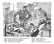 """Officer (to patient newly arrived). """"What's the trouble?"""" Patient. """"Nae trouble, sir."""" Officer. """"Well, what's your complaint?"""" Patient. """"I didna complain at a'."""" Officer. """"Then why did you come here?"""" Patient. """"I was jist sent."""" Officer. """"But have you no wounds?"""" Patient. """"O ay! I have a wheen o' them."""""""