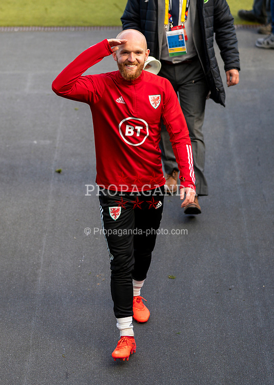 DUBLIN, REPUBLIC OF IRELAND - Sunday, October 11, 2020: Wales' Jonathan Williams during the pre-match warm-up before the UEFA Nations League Group Stage League B Group 4 match between Republic of Ireland and Wales at the Aviva Stadium. The game ended in a 0-0 draw. (Pic by David Rawcliffe/Propaganda)