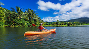 Kayaking on the Hanalei River, Hanalei, Kauai, Hawaii