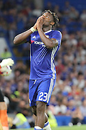 Chelsea striker Michy Batshuayi (23) holding hands to mouth during the EFL Cup match between Chelsea and Bristol Rovers at Stamford Bridge, London, England on 23 August 2016. Photo by Matthew Redman.