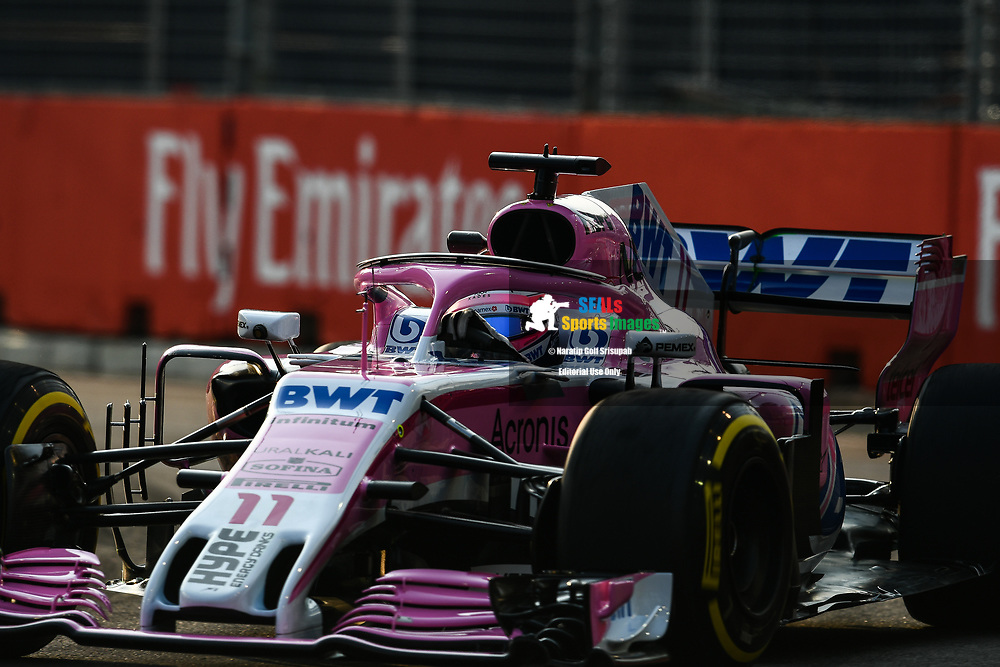 SINGAPORE - SEPTEMBER 14: Sergio Perez (11) of Racing Point Force India F1 Team during P1 at the F1 Singapore Airlines - Singapore Grand Prix 2018, Marina Bay Street Circuit, Singapore on September 14, 2018. <br /> .<br /> .<br /> .<br /> (Photo by: Naratip Golf Srisupab/SEALs Sports Images)<br /> .<br /> Any image use must include a mandatory credit line adjacent to the content which should read: Naratip Golf Srisupab/SEALs Sports Images