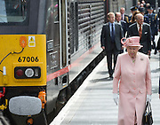 LIVERPOOL-  UK  -22nd June 2016: Britain's HM Queen Elizabeth II visits Liverpool. <br /> The Queen accompanied by HRH The Duke of Edinburgh arrived by Royal Train at Lime Street Station and went on to a reception at the Town Hall where they made an appearance on the balcony for the crowds,<br /> ©Ian Jones/Exclusivepix Media
