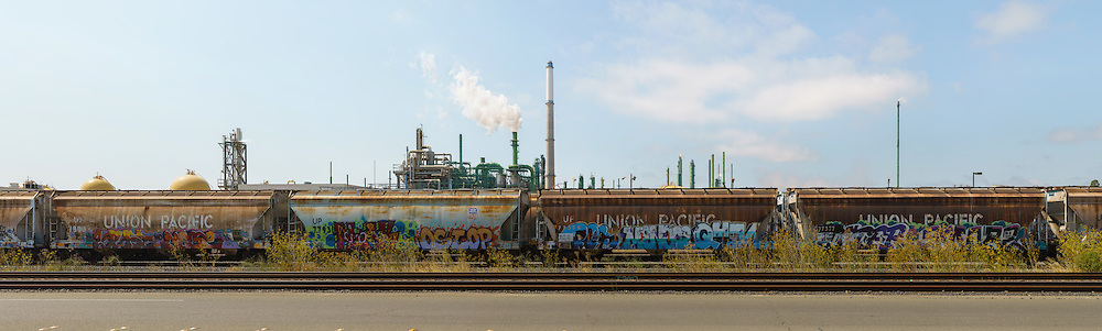Railcars with Graffiti and Refinery (65000 x 19589  pixels)