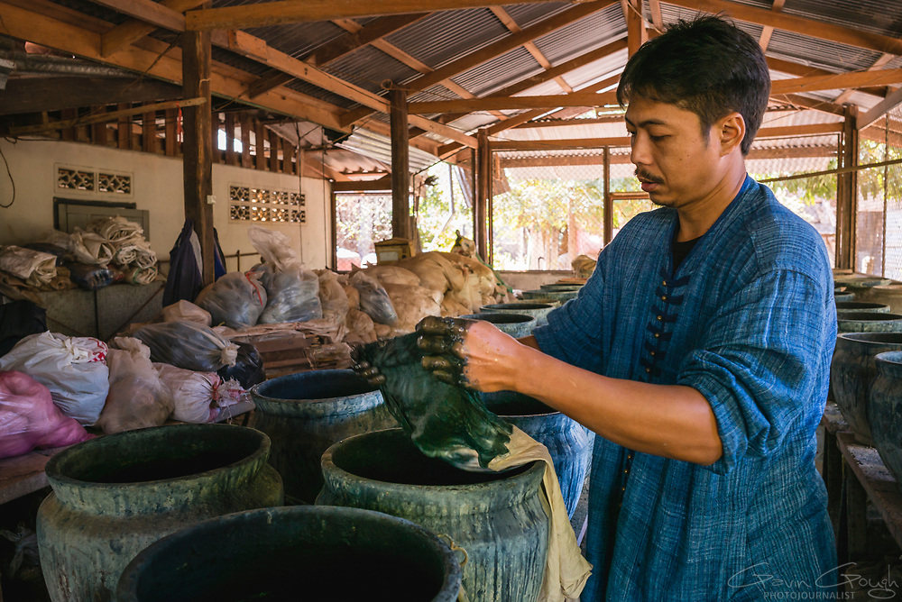 A man working in a traditional dyeing factory squeezing material soaking in indigo dye, Indigo Dyeing Factory, Sakhon Nokhon, Thailand