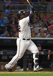 May 31, 2018 - Minneapolis, MN, U.S. - MINNEAPOLIS, MN - MAY 31: Minnesota Twins Third base Miguel Sano (22) hits a 3-run home run in the bottom of the 7th during a MLB game between the Minnesota Twins and Cleveland Indians on May 31, 2018 at Target Field in Minneapolis, MN. The Indians defeated the Twins 9-8.(Photo by Nick Wosika/Icon Sportswire) (Credit Image: © Nick Wosika/Icon SMI via ZUMA Press)