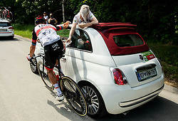 Injured Matteo TRENTIN of UAE TEAM EMIRATES receiving medical treatment during 1st Stage of 27th Tour of Slovenia 2021 cycling race between Ptuj and Rogaska Slatina (151,5 km), on June 9, 2021 in Slovenia. Photo by Vid Ponikvar / Sportida