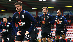 Bournemouth's Jack Simpson (left), Ryan Fraser, Nathaniel Clyne (right) warming up before the Emirates FA Cup, third round match at the Vitality Stadium, Bournemouth.