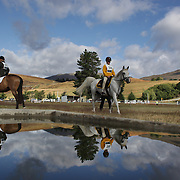 Competitors prepare for the Dressage event with the stunning backdrop of The Remarkables Mountain Range at the Wakatipu One Day Horse Trials,  Queenstown, Otago, New Zealand. 15th January 2012. Photo Tim Clayton