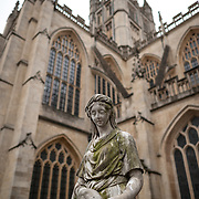 A statue stands outside the main tower of Bath Abbey. Bath Abbey (formally the Abbey Church of Saint Peter and Saint Paul) is an Anglican cathedral in Bath, Somerset, England. It was founded in the 7th century and rebuilt in the 12th and 16th centuries.