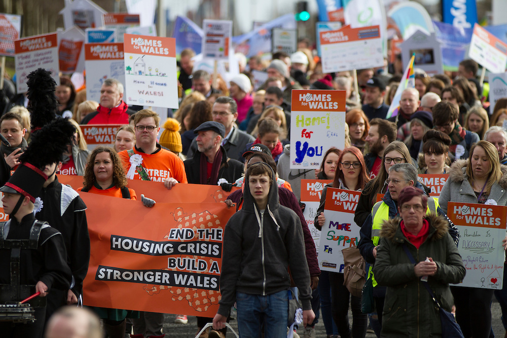 Protesters march from the Senedd to Cardiff city centre as part of the Homes for Wales campaign, for a right to a decent affordable home to call their own.