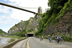 © Licensed to London News Pictures. 17/06/2012. Bristol, UK. Bristol's Biggest Bike Ride, one of the largest free non-competitive cycling events in the UK.  Part of the event takes place along the A4 Portway through the Avon Gorge which is closed to motor traffic for the day, underneath Brunel's Clifton Suspension Bridge.  The event is part of Bristol's Big Green Week 2012, the UK's first ever International Festival of Environmental Ideas, Arts & Culture.  17 June 2012..Photo credit : Simon Chapman/LNP