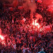 Scotland v Poland.  Polish fans light flares and celebrate at Hampden.  8th Oct 2015