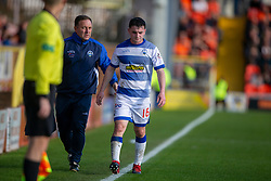 Morton's Lewis Strapp off the park after being injured after a tackle on Dundee United's Paul McMullan. Dundee United 6 v 0 Morton, Scottish Championship game played 28/9/2019 at Dundee United's stadium Tannadice Park.