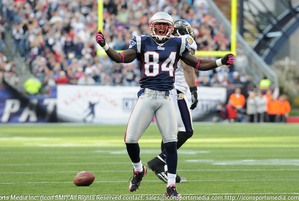 17 October 2010:  Patriot wide receiver Deion Branch celebrates after a successful  catch and run during the New England Patriots game against the  Baltimore Ravens at Gillette Stadium in Foxborough, Massachusetts. Patriots win 23-20 in overtime.
