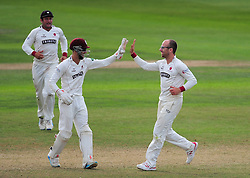 Jack Leach and Ryan Davies celebrate the wicket of Jake Ball.  - Mandatory by-line: Alex Davidson/JMP - 22/09/2016 - CRICKET - Cooper Associates County Ground - Taunton, United Kingdom - Somerset v Nottinghamshire - Specsavers County Championship Division One