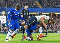 Football - 2016/2017 Premier League - Chelsea V Tottenham Hotspur<br /> <br /> Harry Kane of Tottenham takes a tumble over Victor Moses of Chelsea <br /> at Stamford Bridge.<br /> <br /> COLORSPORT/DANIEL BEARHAM