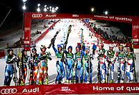 Alpint<br /> FIS World Cup<br /> Innsbruck Østerrike<br /> 25.02.2014<br /> Foto: Gepa/Digitalsport<br /> NORWAY ONLY<br /> <br /> FIS Weltcup, City-Event, Parallel Slalom, Mixed-Teambewerb am Patscherkofel, Siegerehrung. Bild zeigt Truls Johansen, Nina Løseth, Mona Løseth, Sebastian-Foss Solevaag (NOR), den Jubel von Markus Larsson, Anna Swenn Larsson, Mattias Hargin, Maria Pietilae   Holmner (SWE), Reto Schmiediger, Markus Vogel, Nadja Vogel und Wendy Holdener (SUI).