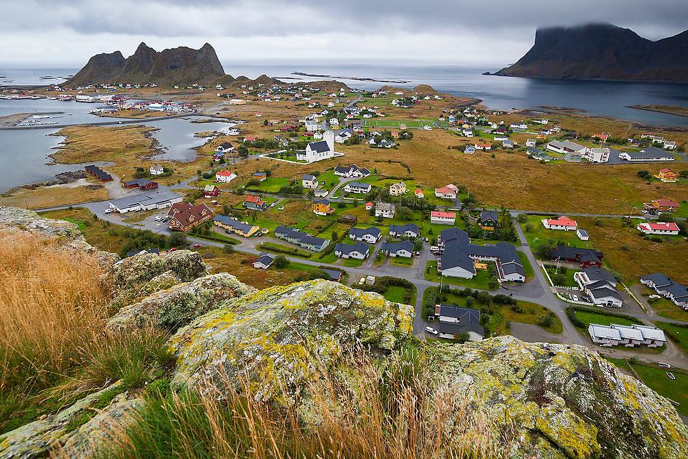 The village of Sorland on Vaeroy Island, Lofoten Islands, Norway.