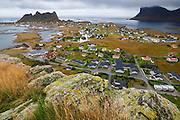 The village of Sorland on Vaeroy Island, Lofoten Islands, Norway.