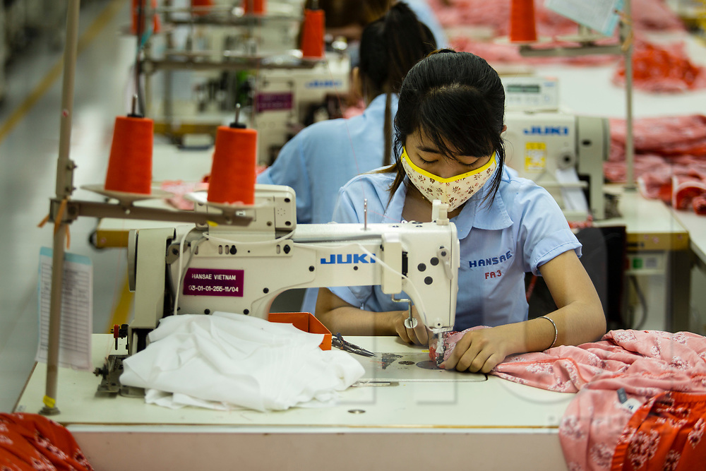 Sewing production line in Hansae textile factory, Cu Chi, Ho Chi Minh city, Vietnam, Southeast Asia
