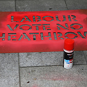 Vote No heathrow target Labour HQ