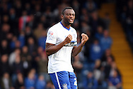 Nathan Cameron of Bury celebrates after scoring his teams 1st goal. Skybet football league one match , Bury v Wigan Athletic at the JD Stadium in Bury, Lancs on Saturday 10th October 2015.<br /> pic by Chris Stading, Andrew Orchard sports photography.